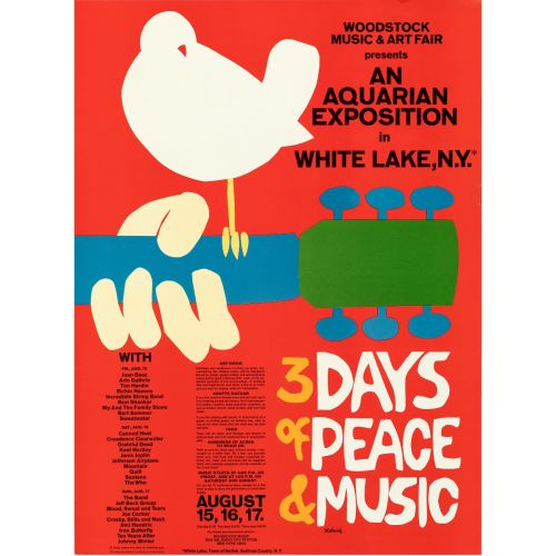 """Woodstock: An Aquarian Exhibition (1969). Rolled, Very Fine/Near Mint. Music Festival Poster (18"""" X 24.5"""" ) Arnold Skolnick"""