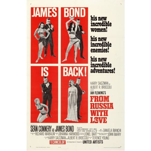 """United Artists, """"From Russia with Love"""" 1964 Style B One Sheet on Linen, Very Fine, Unframed, 27 x 41"""