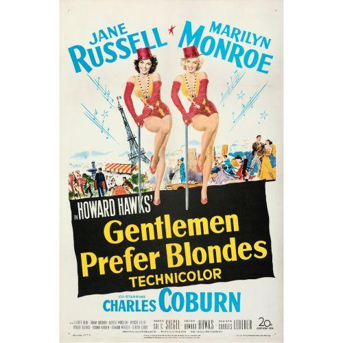 "20th Century Fox, ""Gentlemen Prefer Blondes"" 1953 One Sheet on Linen, Very Fine, Unframed, 27 x 41"