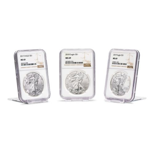 Set of 3: 2017 - 2019 American Silver Eagles NGC/PCGS MS69