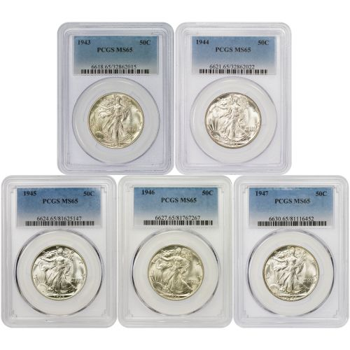 Set of 5: Final 5 Philadelphia Walking Liberty Half Dollars MS65