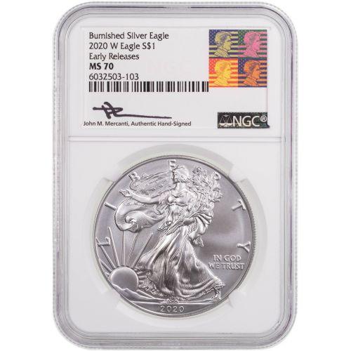 2020-W Burnished American Silver Eagle MS70 Reagan-Mercanti