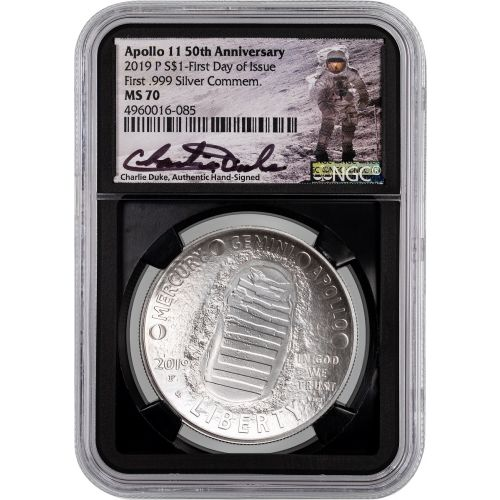 2019-P Apollo 11 Silver Commemorative Dollar NGC MS70 First Day of Issue Signed By Charlie Duke