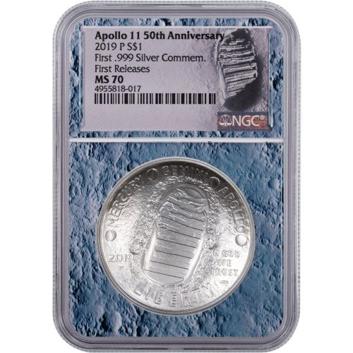 2019-P Moon Core Silver Apollo 11 50th Anniversary Commemorative Dollar NGC MS70 First Releases