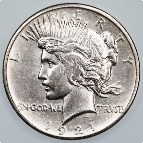 1921-P High Relief Peace Dollar AU