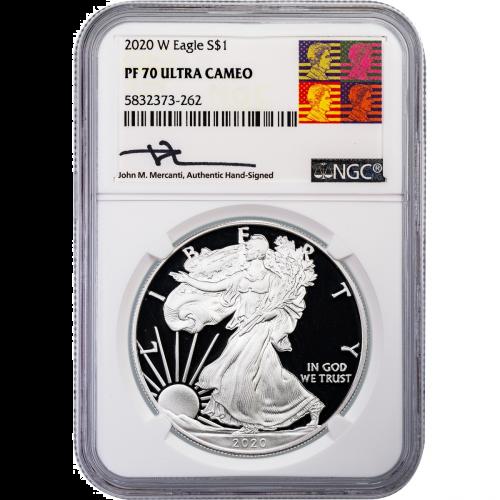 2020-W American Silver Eagle PF70 UCAM Reagan Mercanti Label