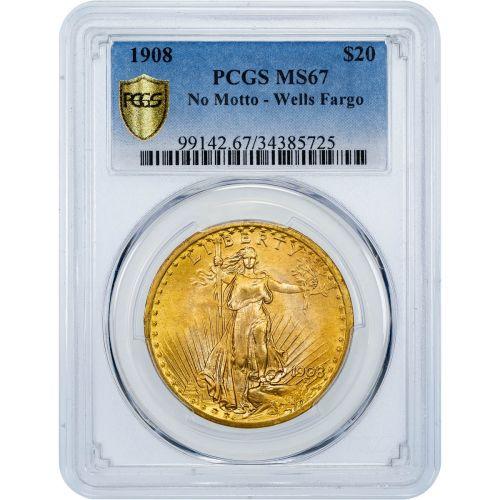 1908 No Motto Saint-Gaudens Gold Double Eagle Wells Fargo MS67