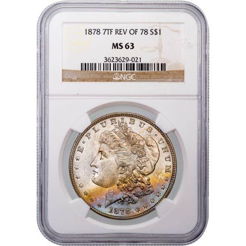 1878-P 7TF Rev of 78 Morgan Dollar MS63 Toned