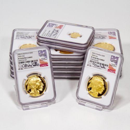 Complete Set of 19: 2006-W - 2020-W Gold Buffalos NGC/PCGS PF70UCAM Including 2008 1/10oz, 1/4oz, 1/2oz & 2013 Enhanced Proof