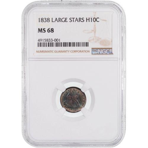 1838-P Seated Liberty, No Drapery Half Dime NGC MS68