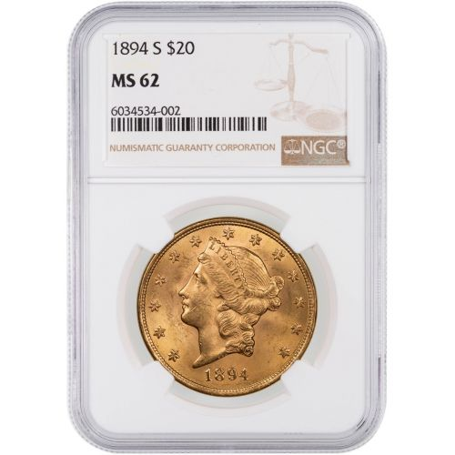 1894-S Liberty Head Gold Double Eagle MS62