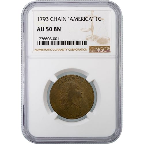 1793 America Chain Cent NGC AU50BN