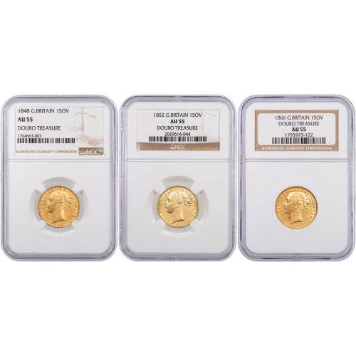 Decade Set of 3: Mixed Date Great Britain 1840s-1860s 1SOV Gold Douro Treasure NGC AU55