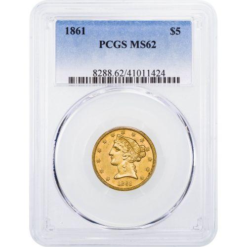 1861-P Liberty Head Gold Half Eagle MS62