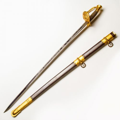 1850 United States Government Regulation Model Staff and Field Officer's Sword