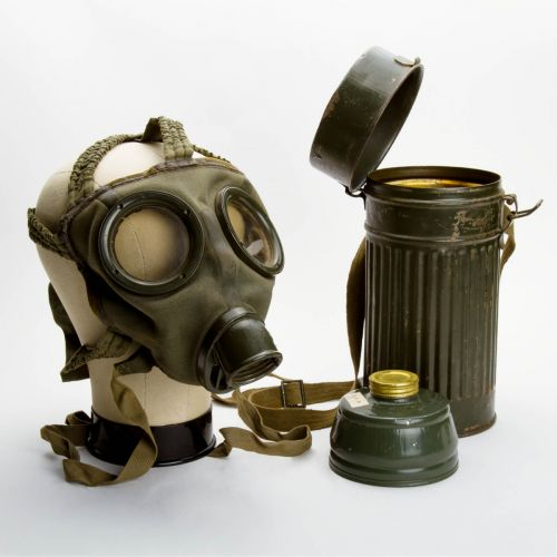 "German WWII Gas Mask (1934) with 10"" x 4"" Container"