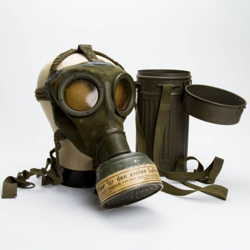 "German WWII Gas Mask with 10"" x 4"" Container"