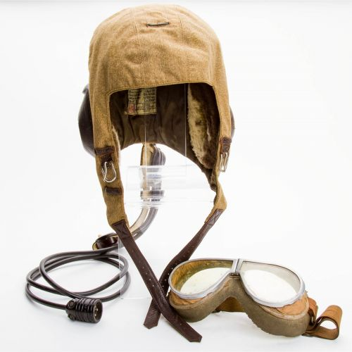 "German WWII Luftwaffe Flight Helmet and Goggles 7.75"" x 10"""