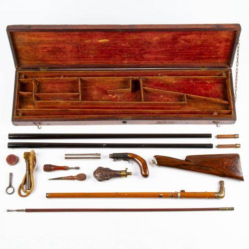 Cased English Cane Gun