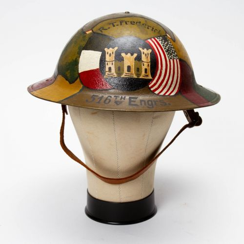 WWI U.S. Engineers Painted Helmet