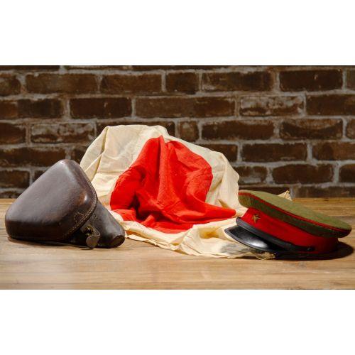 WWII Japanese Set of 3: Visor Hat, Nambu Holster and Hinomaru Military Flag Unsigned