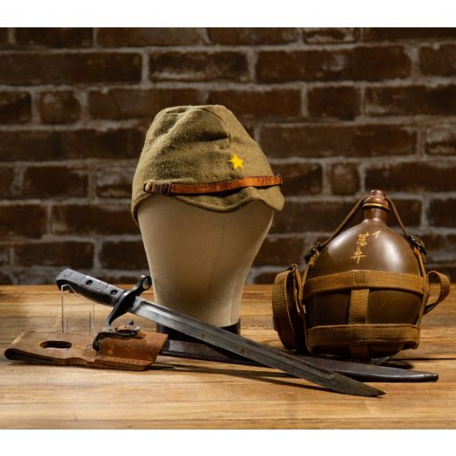 WWII Japanese Set of 3: Army Hat, Canteen and Type 30-A Kokura Bayonet