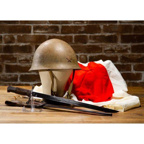 WWII Japanese Set of 3: Army Helmet, Type 30-B National Denki/Kokura Bayonet and Hinomaru Military Flag Unsigned