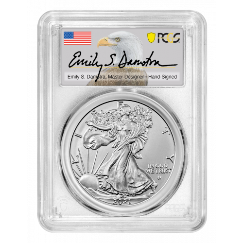 2021-W Type 2 Burnished American Silver Eagle PCGS SP70 Damstra Label