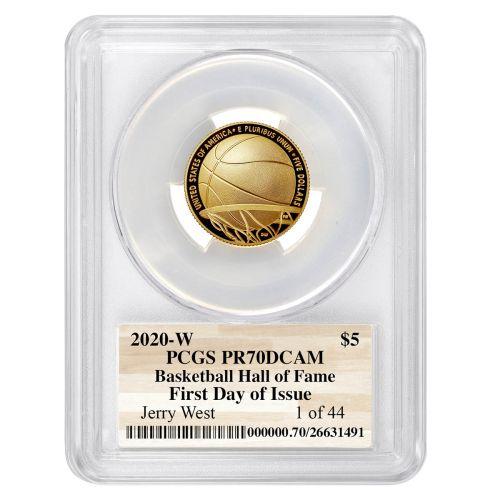 Set of 2: 2020-W Jerry West Basketball Commemorative Gold Five Dollar Piece PR70 DCAM & MS70