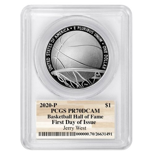 2020-P Silver Basketball Commemorative Dollar PF70 Deep Cameo First Day of Issue