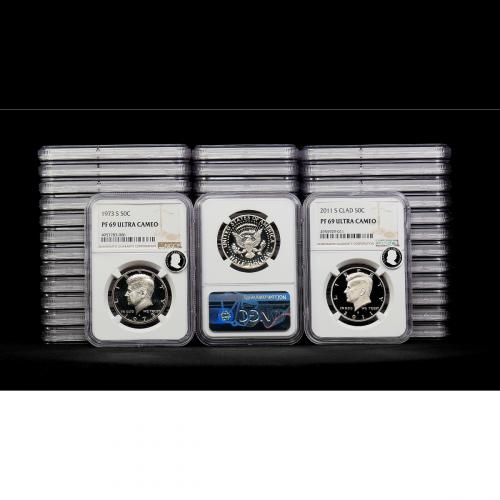 Complete Set of 40: 1973-S – 2011-S Clad Kennedy Half Dollars NGC PF69UCAM ECC