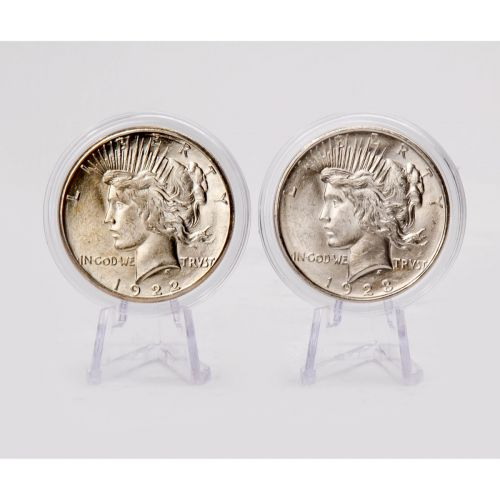 Set of 2: 1922-P & 1923-P Peace Dollars BU
