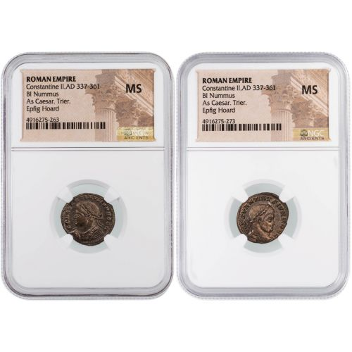 Set of 2: Roman Empire, Constantine II, BI Nummus As Caesar Trier NGC MS Epfig Hoard