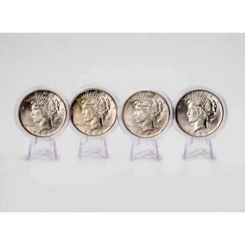 Set of 4: 1922-D, 1925-P, 1923-P & 1922-P Peace Dollars BU
