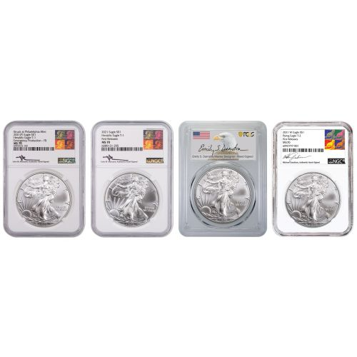 Set of 4: 2021 Type 1 NGC Reagan Mercanti Label, 2021 (P) Type 1 NGC Reagan Mercanti Label Emergency Production, 2021 Type 2 NGC Gaudioso Label, and 2021 Type 2 PCGS Emily Damstra Label American Silver Eagles MS70