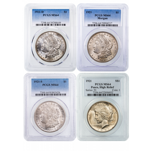 Set of 4: 1921 P,D,S Morgans and 1921-P Peace Dollar High Relief MS64
