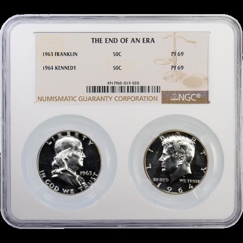 The End Of An Era 1963 Franklin & 1964 Kennedy Half Dollars Set PF69