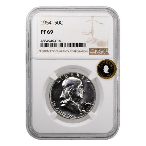 .50 1954 Franklin Half Dollar NGC PF69 Everest