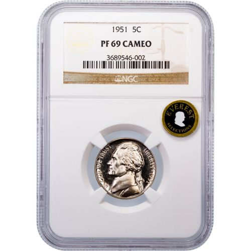 1951 Jefferson Nickel PF69 Cameo Everest
