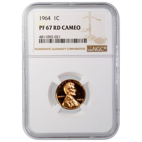 1964 Lincoln Cent PF67RD Cameo