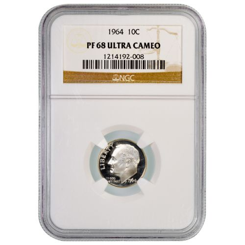 1964 Roosevelt Dime PF68 Ultra Cameo