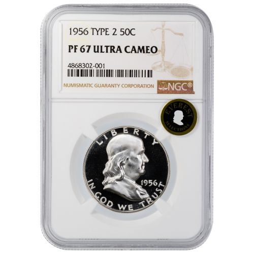 1956-P Type 2 Franklin Half Dollar PF67 Ultra Cameo Everest