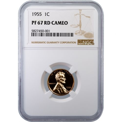 1955 Lincoln Cent PF67 RD Cameo