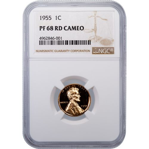 1955-P Lincoln Cent PF68 RD Cameo