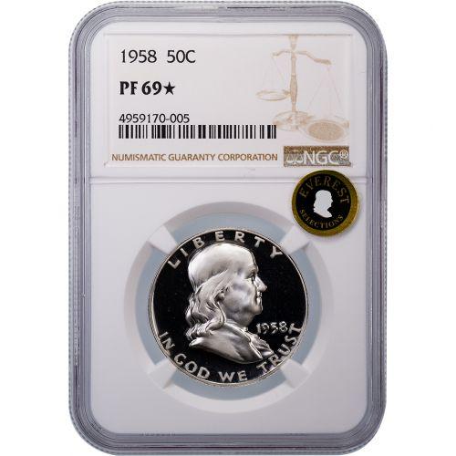 1958 Franklin Half Dollar PF69 Star EVEREST