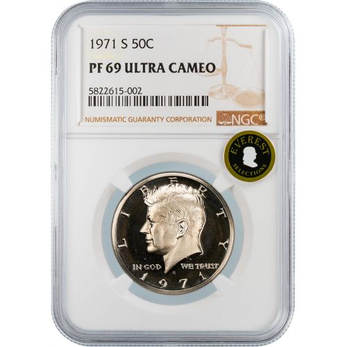 .50 1971-S Kennedy Half Dollar NGC PF69 Ultra Cameo EVEREST
