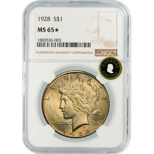 1928-P Peace Dollar MS65 Star EVEREST
