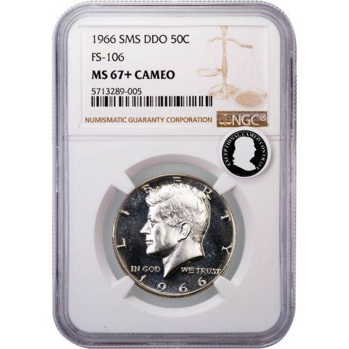 1966-P SMS DDO Kennedy Half Dollar FS-106 MS67+ Cameo ECC
