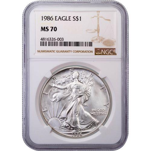 1986 American Silver Eagle MS70