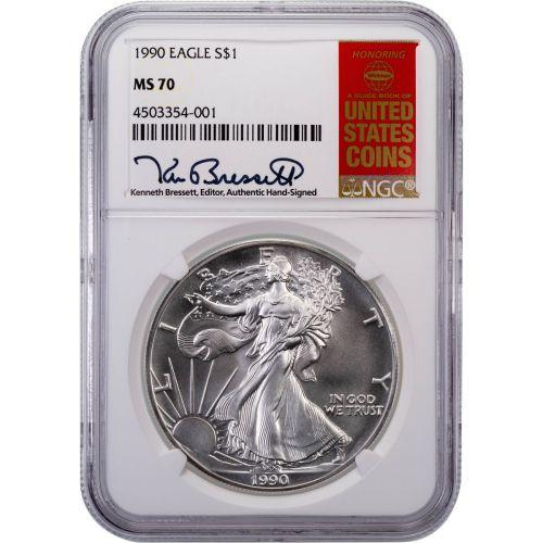 1990 American Silver Eagle MS70